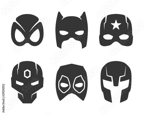 Fotografía  black super hero face mask icons set
