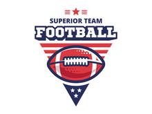 American Football Camp Logo, Emblem, Designs Templates With American Football Ball On A White Background