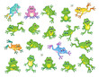 A large set of funny frogs in various colors and poses. In cartoon style. Isolated on a white background.