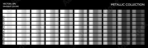 Obraz Monochrome metallic silver palette set. Gradient background template for screen, mobile, banner, label, tag, packaging, print. Gray color combination with metal effect. - fototapety do salonu