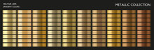 Metal Gradient. Metallic Set. Gold Gradient. Golden Palette. Chrome Texture Surface Background Template For Screen, Mobile, Digital, Web. Gold, Silver, Bronze Colorful Palette Collection.
