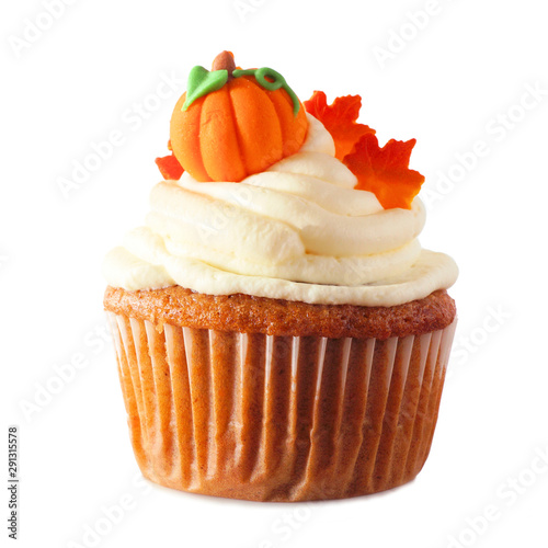 Fall pumpkin spice cupcake with creamy frosting and leaf and pumpkin toppings is Canvas Print