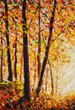 Autumn forest orange gold watercolor oil painting