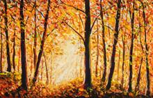 Beautiful Autumn Landscape Painting. Sunny Golden Acrylic Orange Warm Artistic Park. Impressionism Aurumn Trees In Wood Forest Artwork