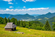 Shelter Cabin Hut With View To Valley, Velka Fatra, Western Carpathians, Slovakia