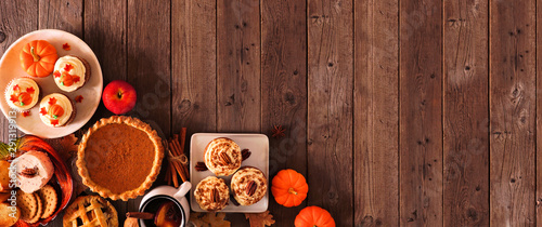 Autumn food corner border banner Wallpaper Mural