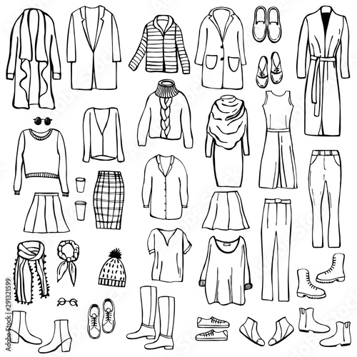 Autumn fashion. Hand drawn women's clothing and shoes. Vector sketch  illustration. Wall mural
