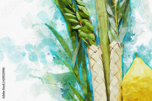 watercolor style and abstract image of Jewish festival of Sukkot. Traditional symbols (The four species): Etrog, lulav, hadas, arava - 291321946