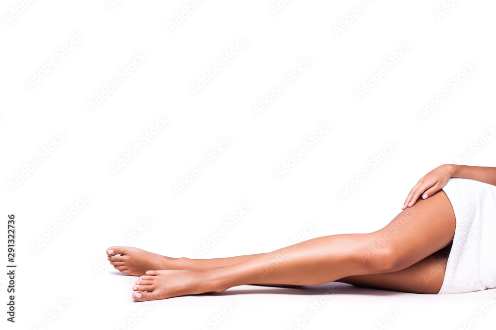 Fototapety, obrazy: perfect woman legs on white background copy space