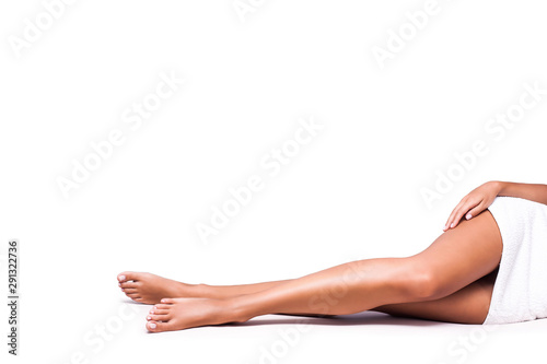 perfect woman legs on white background copy space Poster Mural XXL