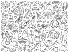 Hand Drawn Doodle Set Of Thanksgiving. Various Symbols And Objects: Pumpkin, Turkey, Pie, Corn And Etc. Holiday Illustration For Postcard, Banner, Greeting Card, Poster. Vector Coloring Illustration.