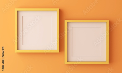 Pinturas sobre lienzo  Two yellow picture frame for insert text or image inside on orange color