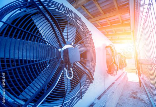 Cuadros en Lienzo  Metal industrial air conditioning vent. HVAC. Ventilation fan.