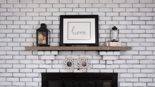Fireplace Mantel In An American Home Living Room Decorated For Autumn