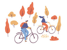 People Riding On Bicycles In The Park. Active Couple Vacation. Autumn Park. Male And Female Flat Characters Isolated On White Background.