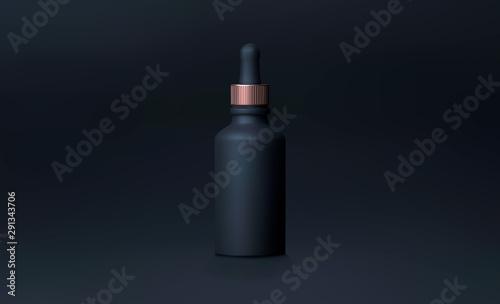 Cuadros en Lienzo  Elegant cosmetic dropper for skin care on black background