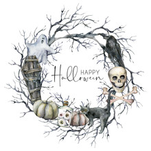 Watercolor Halloween Wreath Wi...