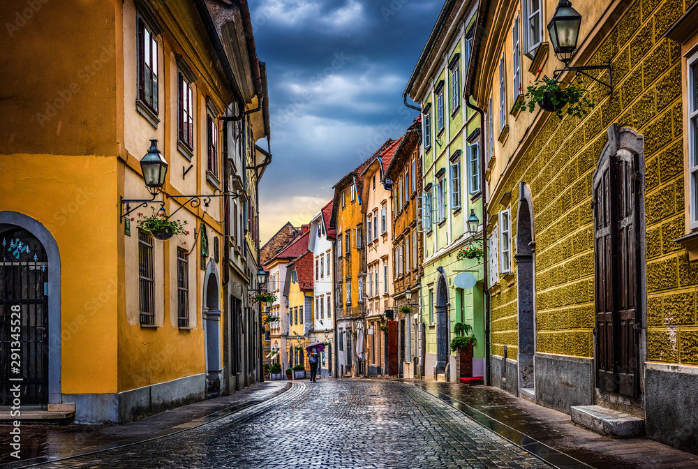 Street of the old city Ljubljana after the rain. Ljubljana capital of Slovenia.