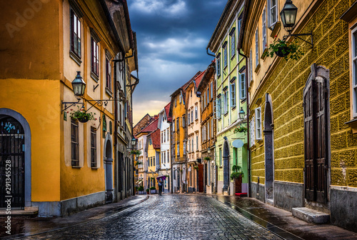Street of the old city Ljubljana after the rain. Ljubljana capital of Slovenia. - 291345528