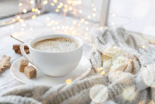 Cup Of Coffee, Brown Sugar, Knitted Scarf, Garland. Autumn Mood. Cozy Autumn Composition. Hygge Concept. Soft Focus