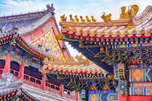 Chinese Traditional Architecture -  Colorful Ornament And Statue Dragons On Roof Of Lama Temple In Beijing, China