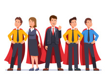 Business Man And Woman Dream Team In Red Capes