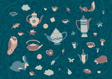 Set Of Cute Forest Animals With Cups And Teapots In Scandinavian Style. Cartoon Retro Collection Tea Party Elements. Hyugge Autumn Or Winter Teatime Vector Illustration. Sweet Home Vintage Background