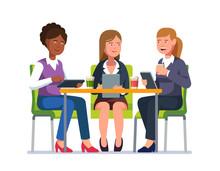 Three Business Woman Sitting A...