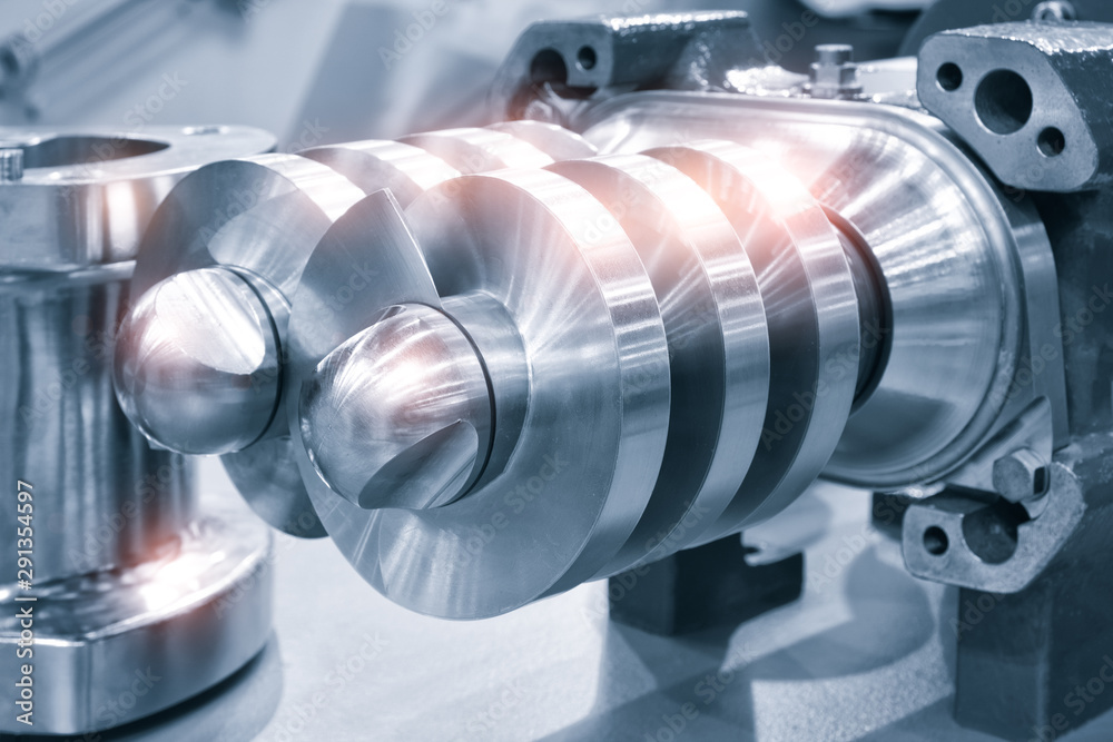 Fototapety, obrazy: Multistage high pressure prepared pumpfor pumping of water, fuel, oil and oil or chemical products, closeup details