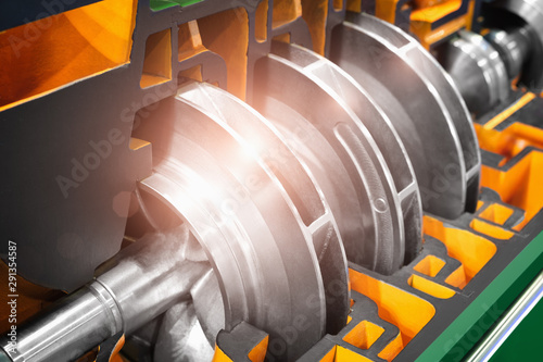 Fototapeta Multistage high pressure prepared pumpfor pumping of water, fuel, oil and oil or chemical products, closeup details obraz