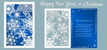 Card With Snowflakes. Text - Happy New Year. Vector Illustration. Laser Cut Template. Metal, Paper Or Wood Carving Pattern. Blue. Snowflake, Star.