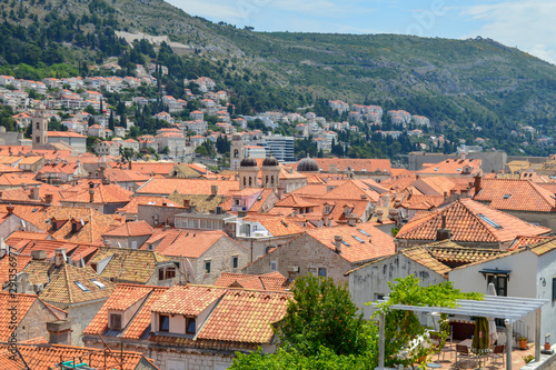 Red rooftops of town Dubrovnik on June 18, 2019 Fototapet