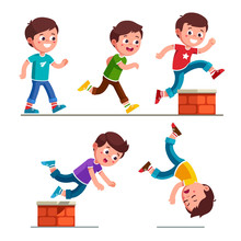 Boy Kid Walking, Running, Jumping And Falling Down