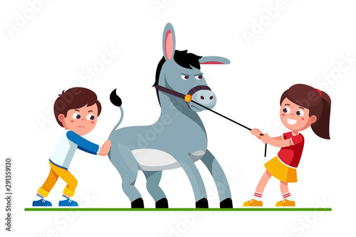 Girl pulling donkey on reins and boy pushing it Wallpaper Mural