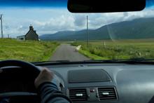Blick Durch Die Windschutzscheibe In Die Highlands Von Schottland
