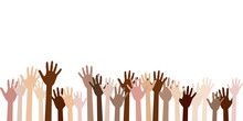 Raised Up Hands Of Different S...