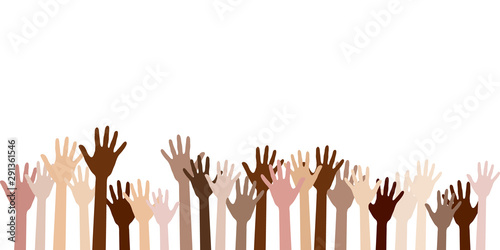 Raised up hands of different skin color vector illustration Canvas Print
