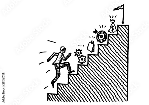 Drawn Man Running Upstairs Towards Business Goal Wallpaper Mural