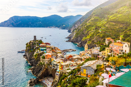 aerial view of Vernazza, Cinque Terre, Italy Poster Mural XXL