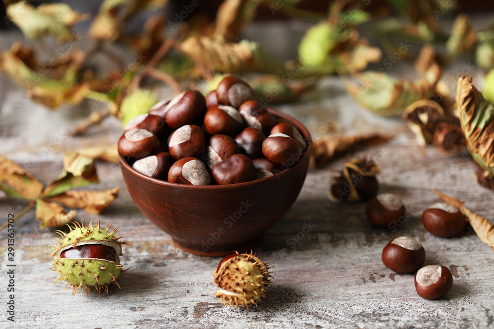 Fototapety, obrazy: Chestnuts in a bowl. Chestnut leaves. Autumn composition with chestnuts.