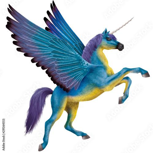 Fotomural  cheval volant, étalon, jument,  licorne,  en vol, en vol, coloré, bleu, jaune,