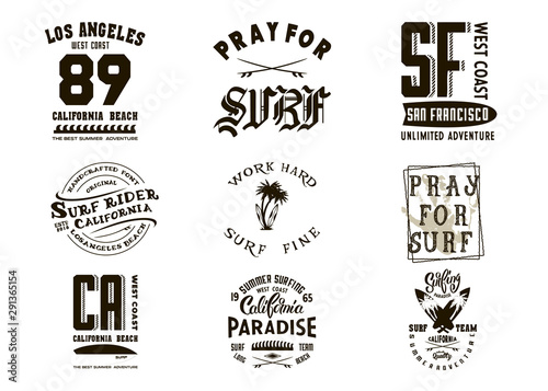Poster Positive Typography Vintage surf typography set. T-shirt graphics for print and other user. Vector