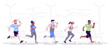 Marathon Running Flat Vector I...
