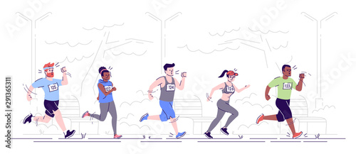 Marathon running flat vector illustration. Joggers in park. City footrace. Running competition. Sport activity. Runners on track isolated cartoon character on white background