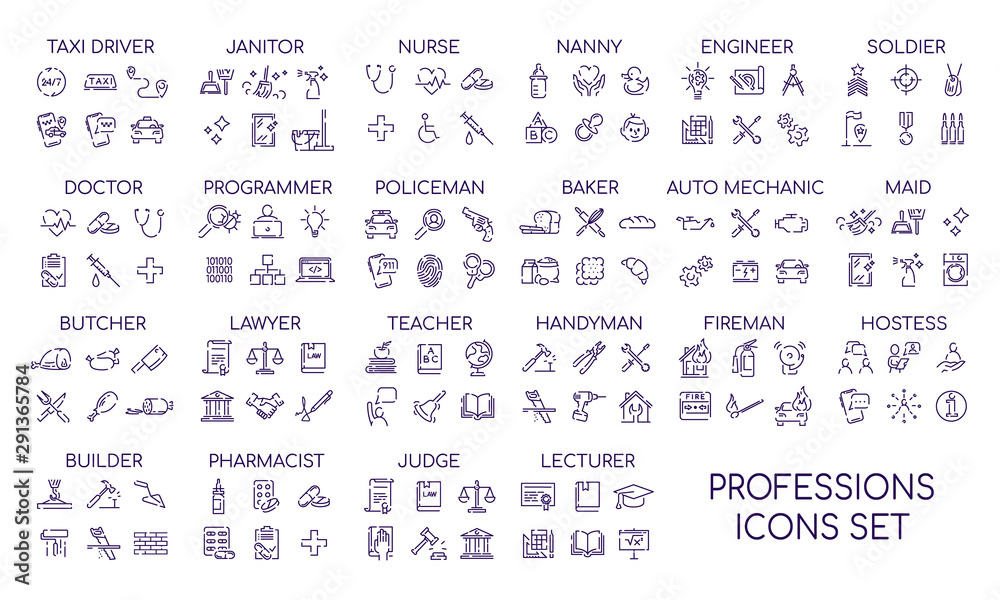 Fototapeta Professions linear big icons set. Occupations items and objects. Career thin line contour symbols collections. Professional workers tools and equipment bundle. Isolated vector outline illustrations