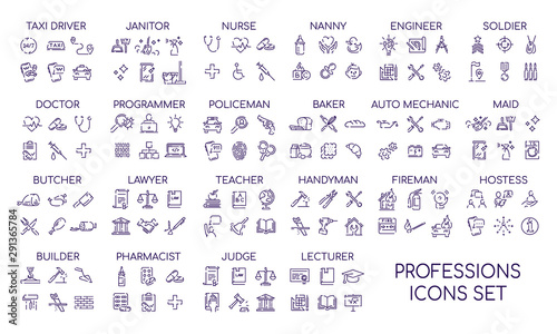 Professions linear big icons set Billede på lærred