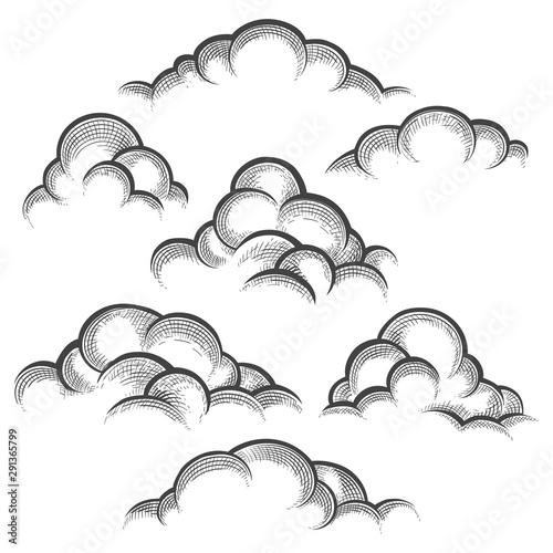 Valokuvatapetti Clouds engraving set