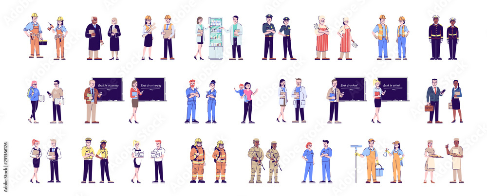 Fototapety, obrazy: Workers flat vector characters set. Professional staff, labor. Jobs and occupations. Firefighters, soldiers, doctors, cleaners cartoon illustrations. Service industry personnel, employees