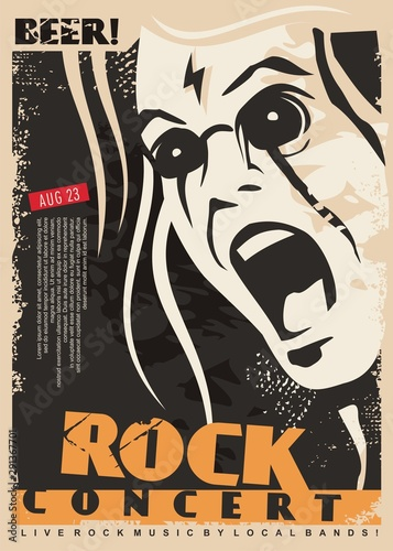 Photo Rock concert poster design template with mad singer portrait