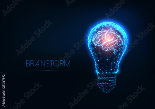 Obraz Brainstorm concept with futuristic glowing low polygonal light bulb and human brain. - fototapety do salonu